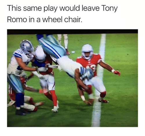 Tony Romo, Chair, and Play: This same play would leave Tony  Romo in a wheel chair.