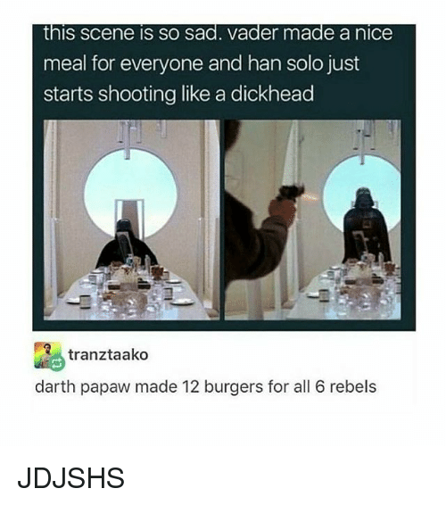 sad vader: this scene is SO sad. Vader made a nice  meal for everyone and han solo just  starts shooting like a dickhead  tranztaako  darth papaw made 12 burgers for all 6 rebels JDJSHS