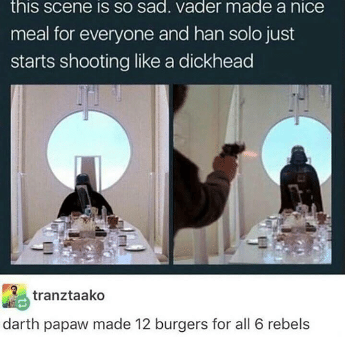 sad vader: this SCene IS SO sad. Vader made a niCe  meal for everyone and han solo just  starts shooting like a dickhead  tranztaako  darth papaw made 12 burgers for all 6 rebels