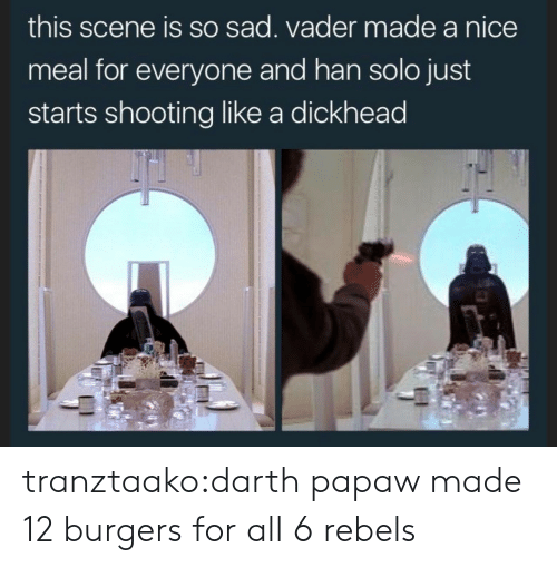 sad vader: this scene is so sad. vader made a nice  meal for everyone and han solo just  starts shooting like a dickhead tranztaako:darth papaw made 12 burgers for all 6 rebels