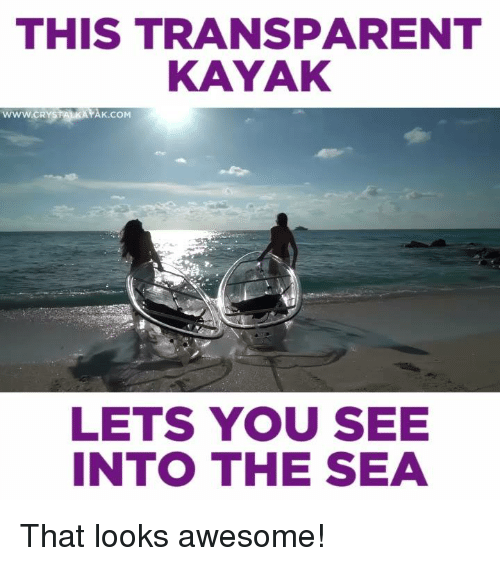 Transparencies: THIS TRANSPARENT  KAYAK  wwwcRYSTANKAYAK co  LETS YOU SEE  INTO THE SEA That looks awesome!