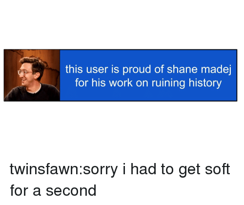 Sorry, Tumblr, and Work: this user is proud of shane made  for his work on ruining history twinsfawn:sorry i had to get soft for a second