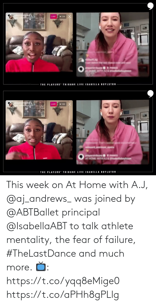 Fear: This week on At Home with A.J, @aj_andrews_ was joined by @ABTBallet principal @IsabellaABT to talk athlete mentality, the fear of failure, #TheLastDance and much more.   📺: https://t.co/yqq8eMige0 https://t.co/aPHh8gPLlg