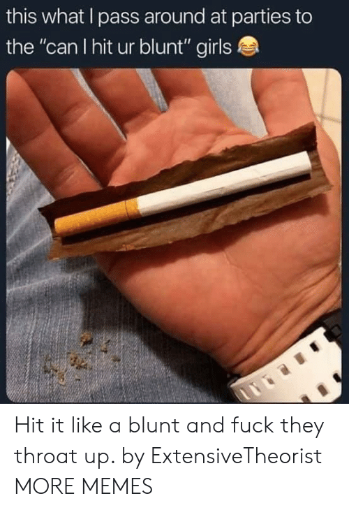 "Dank, Girls, and Memes: this what l pass around at parties to  the ""can I hit ur blunt"" girls Hit it like a blunt and fuck they throat up. by ExtensiveTheorist MORE MEMES"