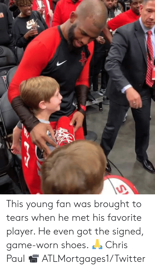 Chris Paul, Shoes, and Twitter: This young fan was brought to tears when he met his favorite player. He even got the signed, game-worn shoes. 🙏 Chris Paul  📹 ATLMortgages1/Twitter