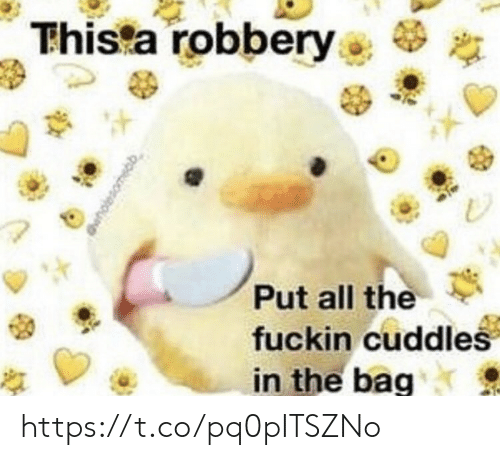 Memes, All The, and 🤖: Thista robbery  Put all the  fuckin cuddles  in the bag https://t.co/pq0pITSZNo