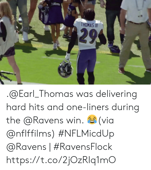Memes, Ravens, and 🤖: THOMAS II  295 .@Earl_Thomas was delivering hard hits and one-liners during the @Ravens win. 😂(via @nflffilms) #NFLMicdUp  @Ravens   #RavensFlock https://t.co/2jOzRIq1mO