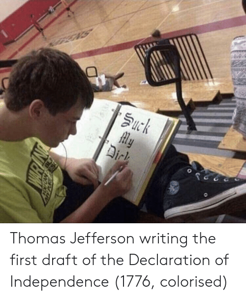 Thomas Jefferson: Thomas Jefferson writing the first draft of the Declaration of Independence (1776, colorised)