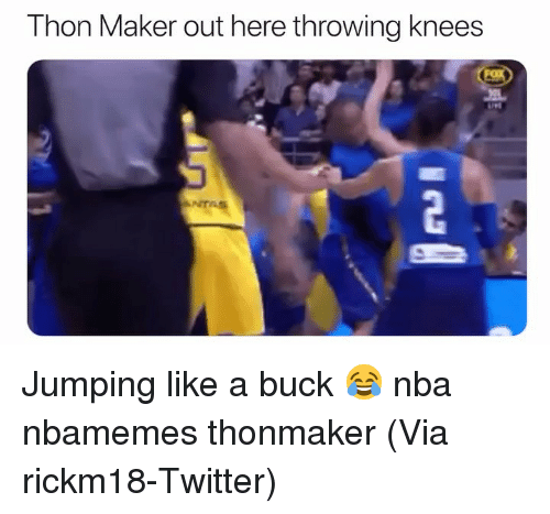 Basketball, Nba, and Sports: Thon Maker out here throwing knees  ANTA Jumping like a buck 😂 nba nbamemes thonmaker (Via ‪rickm18‬-Twitter)