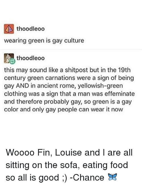 Woooo: thoodleoo  wearing green is gay culture  thoodleoo  this may sound like a shitpost but in the 19th  century green carnations were a sign of being  gay AND in ancient rome, yellowish-green  clothing was a sign that a man was effeminate  and therefore probably gay, so green is a gay  color and only gay people can wear it now Woooo Fin, Louise and I are all sitting on the sofa, eating food so all is good ;) -Chance 🦋