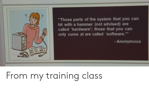 "Parts: ""Those parts of the system that you can  hit with a hammer (not advised) are  called 'hardware'; those that you can  only curse at are called 'software.""  - Anonymous From my training class"
