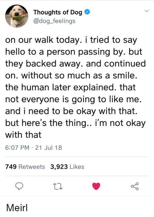 i'm not okay: Thoughts of Dog  @dog_feelings  on our walk today. i tried to say  hello to a person passing by. but  they backed away. and continued  on. without so much as a smile  the human later explained. that  not everyone is going to like me  and i need to be okay with that.  but here's the thing.. i'm not okay  with that  6:07 PM 21 Jul 18  749 Retweets 3,923 Likes Meirl
