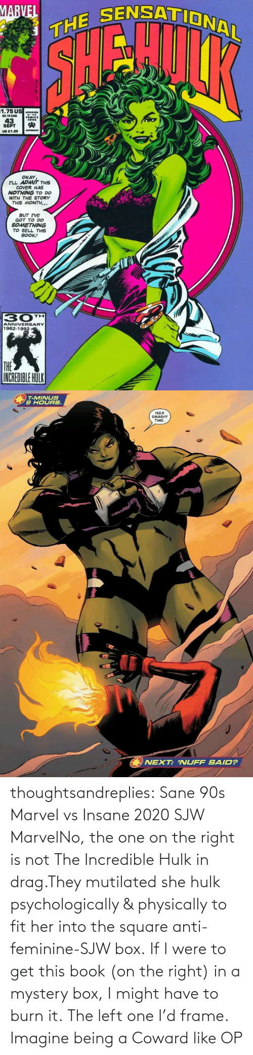 Being A: thoughtsandreplies:  Sane 90s Marvel vs Insane 2020 SJW MarvelNo, the one on the right is not The Incredible Hulk in drag.They mutilated she hulk psychologically & physically to fit her into the square anti-feminine-SJW box. If I were to get this book (on the right) in a mystery box, I might have to burn it. The left one I'd frame.    Imagine being a Coward like OP