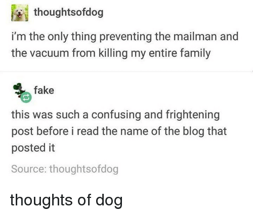 Fake, Family, and Memes: thoughtsofdog  i'm the only thing preventing the mailman and  the vacuum from killing my entire family  fake  this was such a confusing and frightening  post before i read the name of the blog that  posted it  Source: thoughtsofdog thoughts of dog