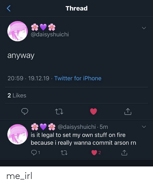 Stuff: Thread  @daisyshuichi  anyway  20:59 · 19.12.19 · Twitter for iPhone  2 Likes  @daisyshuichi 5m  is it legal to set my own stuff on fire  because i really wanna commit arson rn  27 me_irl