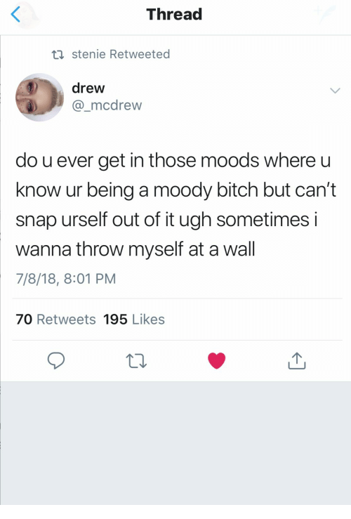 Bitch, Snap, and Moody: Thread  ti stenie Retweeted  drew  mcdrew  do u ever get in those moods where u  know ur being a moody bitch but can't  snap urself out of it ugh sometimes i  wanna throw myself at a wall  7/8/18, 8:01 PM  70 Retweets 195 Likes