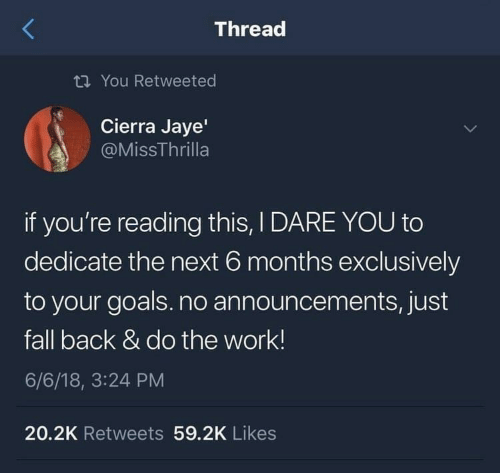 Do The Work: Thread  ti You Retweeted  Cierra Jaye'  @MissThrilla  if you're reading this, I DARE YOU to  dedicate the next 6 months exclusively  to your goals.no announcements, just  fall back & do the work!  6/6/18, 3:24 PM  20.2K Retweets 59.2K Likes
