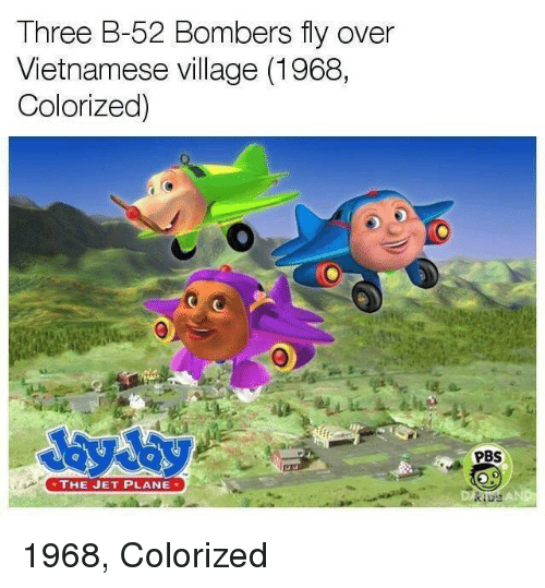 Vietnamese, Pbs, and Jet: Three B-52 Bombers fly over  Vietnamese village (1968,  Colorized)  PBS  THE JET PLANE  AND 1968, Colorized