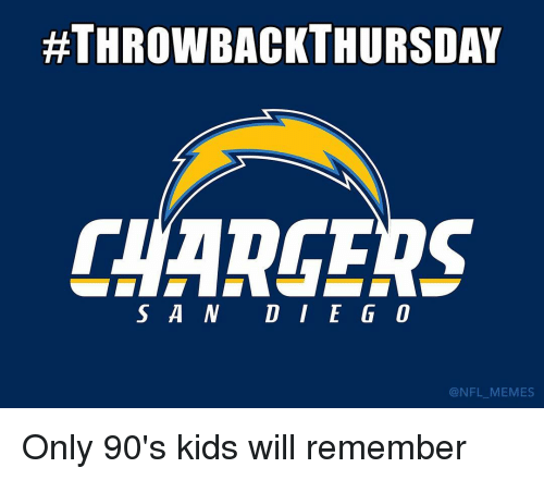 Only 90S Kid:  #THROWBACK THURSDAY  S A N DIE GO  @NFL MEMES Only 90's kids will remember