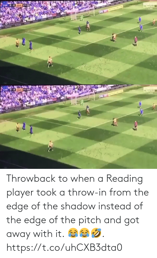 ballmemes.com: Throwback to when a Reading player took a throw-in from the edge of the shadow instead of the edge of the pitch and got away with it. 😂😂🤣.  https://t.co/uhCXB3dta0
