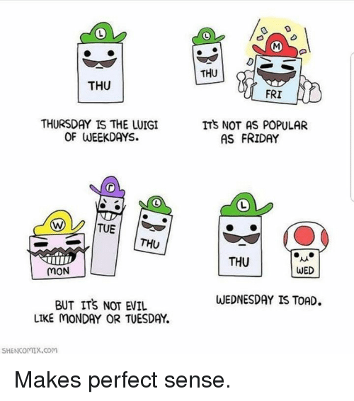 makes-perfect-sense: THU  THU  FRI  THURSDAY IS THE LUIGI  OF WEEKDAYS.  ITS NOT AS POPULAR  AS FRIDAY  THU  THU  MON  WED  WEDNESDAY IS TOAD  BUT ITS NOT EVIL  LIKE MONDAY OR TUESDAY  SHENCOMIX.coM Makes perfect sense.