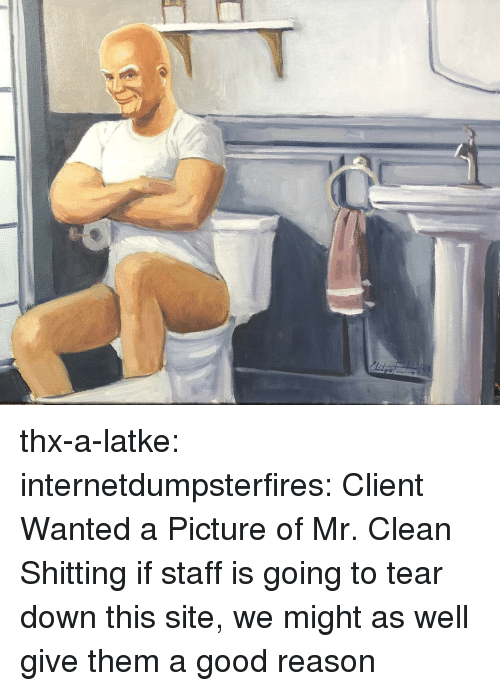 Tumblr, Blog, and Good: thx-a-latke: internetdumpsterfires: Client Wanted a Picture of Mr. Clean Shitting if staff is going to tear down this site, we might as well give them a good reason