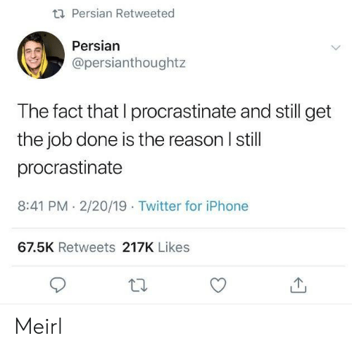 Get The Job: ti Persian Retweeted  Persian  @persianthoughtz  The fact that I procrastinate and still get  the job done is the reason I still  procrastinate  8:41 PM. 2/20/19 Twitter for iPhone  67.5K Retweets 217K Likes Meirl