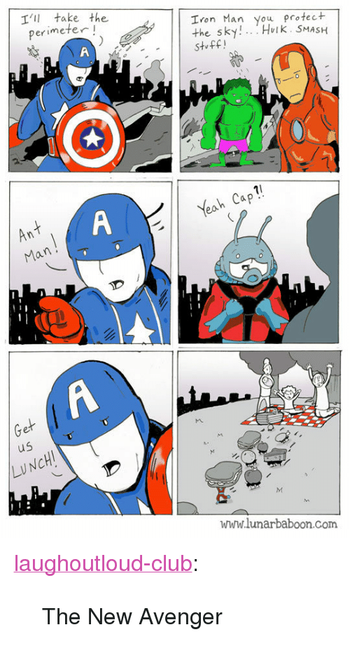 """perimeter: T'I take the  perimeter!  Iron Man you protec+  the sky!.. Hoik. SMASH  St ff!  Yeah Cap  An  Man  us  LUNCH  www.lunarbaboon.com <p><a href=""""http://laughoutloud-club.tumblr.com/post/154167623564/the-new-avenger"""" class=""""tumblr_blog"""">laughoutloud-club</a>:</p>  <blockquote><p>The New Avenger</p></blockquote>"""