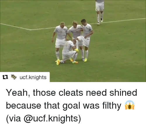 Goals, Sports, and Yeah: ti ucf knights Yeah, those cleats need shined because that goal was filthy 😱 (via @ucf.knights)