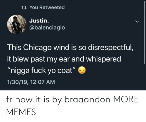 "Chicago, Dank, and Memes: ti You Retweeted  Justin.  @balenciaglo  This Chicago wind is so disrespectful  it blew past my ear and whispered  ""nigga fuck yo coat""  1/30/19, 12:07 AM fr how it is by braaandon MORE MEMES"