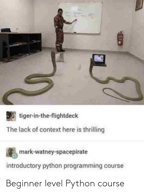Tiger, Programming, and Python: tiger-in-the-flightdeck  The lack of context here is thrilling  mark-watney-spacepirate  introductory python programming cours Beginner level Python course