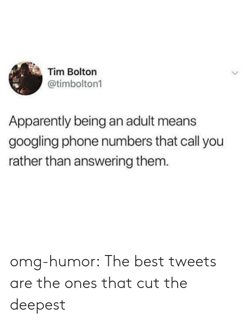 Apparently, Being an Adult, and Omg: Tim Bolton  @timbolton1  Apparently being an adult means  googling phone numbers that call you  rather than answering them omg-humor:  The best tweets are the ones that cut the deepest