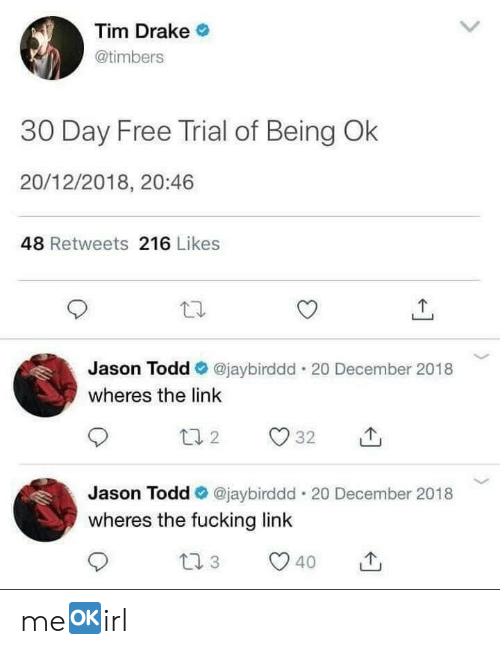 Drake, Fucking, and Free: Tim Drake  @timbers  30 Day Free Trial of Being Ok  20/12/2018, 20:46  48 Retweets 216 Likes  Jason Todd @jaybirddd. 20 December 2018  wheres the link  Jason Todd Ф @jaybirddd-20 December 2018  wheres the fucking link  40 me🆗️irl