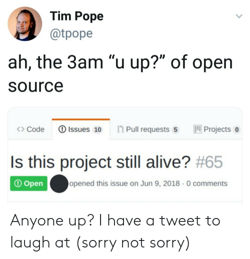 "open source: Tim Pope  @tpope  ah, the 3am ""u up?"" of open  Source  Pull requests 5  Issues 10  Projects  Code  Is this project still alive? #65  opened this issue on Jun 9, 2018 0 comments  Open Anyone up? I have a tweet to laugh at (sorry not sorry)"