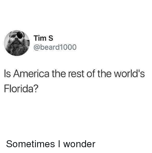 America, Florida, and Wonder: Tim S  abeard1000  Is America the rest of the world's  Florida? Sometimes I wonder