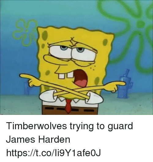 James Harden, SpongeBob, and Sports: Timberwolves trying to guard James Harden https://t.co/Ii9Y1afe0J