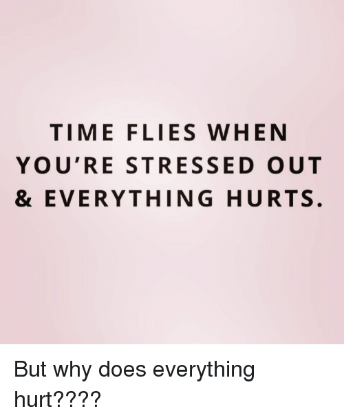 Everything Hurts: TIME FLIES WHEN  YOU'RE STRESSED OUT  & EVERYTHING HURTS. But why does everything hurt????