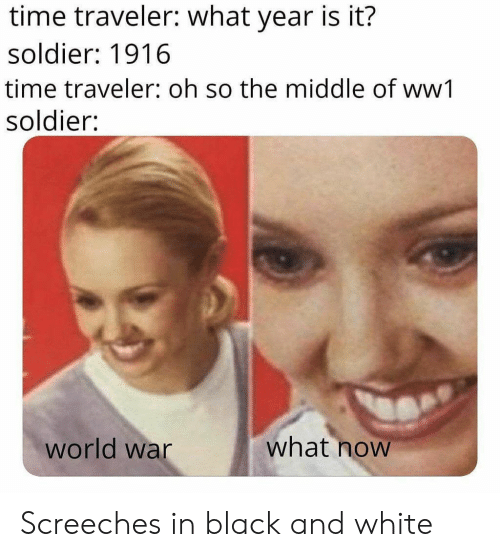 traveler: time traveler: what year is it?  soldier: 1916  time traveler: oh so the middle of ww1  soldier:  what now  world war Screeches in black and white