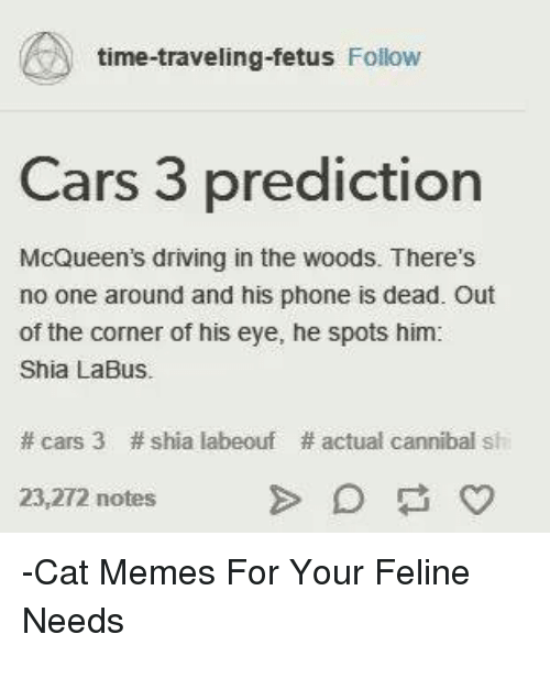 Cars, Driving, and Memes: time-traveling-fetus Follow  Cars 3 prediction  McQueen's driving in the woods. There's  no one around and his phone is dead. Out  of the corner of his eye, he spots him:  Shia LaBus.  # cars 3  # shia labeouf  # actual cannibal sh  23,272 notes  Cat Memes For Your Feline  Needs