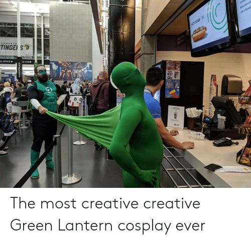 hot dogs: TINGE S  ice CREAM  HOT DOGS S  x OFFICE  LS ADO  e  OLE The most creative creative Green Lantern cosplay ever