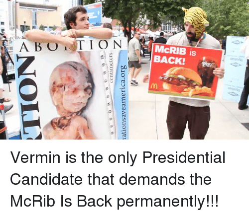 Presidential Candidates: TION  centimeters  rations aveamerica.org Vermin is the only Presidential Candidate that demands the McRib Is Back permanently!!!