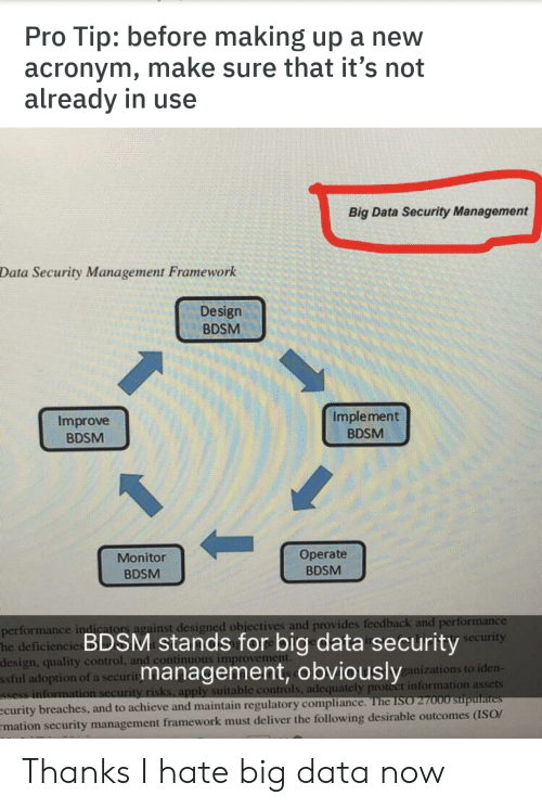 Protect: Tip: before making up a new  acronym, make sure that it's not  already in use  Pro  Big Data Security Management  Data Security Management Framework  Design  BDSM  Implement  Improve  BDSM  BDSM  Operate  Monitor  BDSM  BDSM  performance indicators against designed objectives and provides feedback and performance  deficiencie BDSM stands for big data securityecurity  design, quality control, and continuous improvement.  ssful adoption of a security  Ssess information security risks, apply suitable controls, adequately protect information assets  ecurity breaches, and to achieve and maintain regulatory compliance. The ISO 27000 stupulates  mation security management framework must deliver the following desirable outcomes (ISO/  management, obviously  ganizations to iden- Thanks I hate big data now