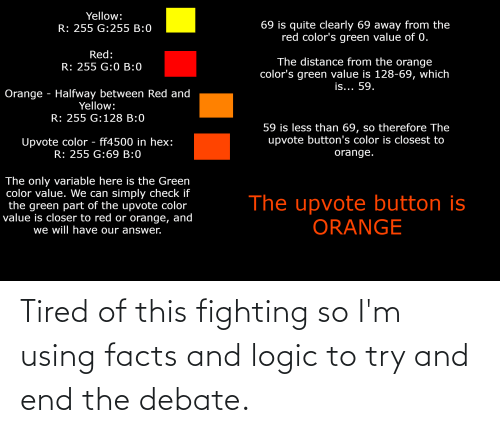 Try: Tired of this fighting so I'm using facts and logic to try and end the debate.