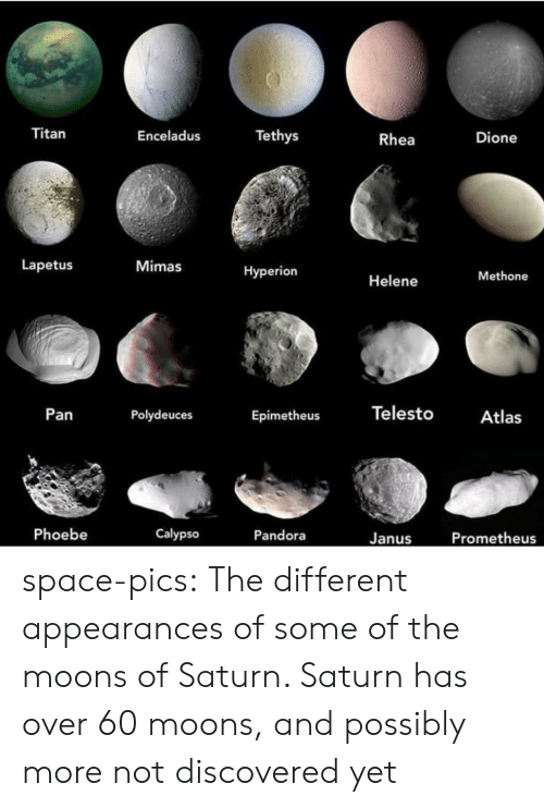 Possibly: Titan  Tethys  Enceladus  Dione  Rhea  Lapetus  Mimas  Нyperion  Methone  Helene  Telesto  Pan  Polydeuces  Atlas  Epimetheus  Phoebe  Calypso  Pandora  Prometheus  Janus space-pics:  The different appearances of some of the moons of Saturn. Saturn has over 60 moons, and possibly more not discovered yet
