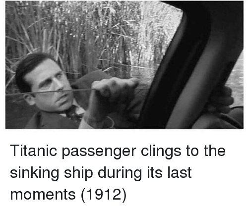 sinking: Titanic passenger clings to the sinking ship during its last moments (1912)