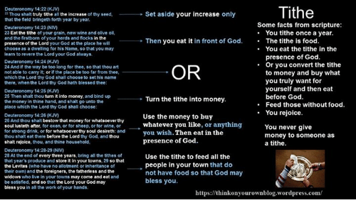 Blessed, Drinking, and Facts: Tithe  Deuteronomy 14:22 (KJV)  Thou shalt truly tithe all the increase of thy seed,  that the field bringeth forth year by year  Set aside your increase only  Some facts from scripture:  . You tithe once a year.  Deuteronomy 14:23 (NV  23 Eat the tithe of your grain, new wine and olive oil,  and the firstborn of your herds and flocks in the  presence of the Lord your God at the place he will  choose as a dwelling for his Name, so that you may  learn to revere the Lord your God always.  Then you eat it in front of God. The tithe is food.  .You eat the tithe in the  presence of God.  Deuteronomy 14:24 (KJV  24 And if the way be too long for thee, so that thou art  not able to carry it; or if the place be too far from thee,  which the Lord thy God shall choose to set his name  there, when the Lord thy God hath blessed thee:  Or you convert the tithe  OR  to money and buy what  you truly want for  yourself and then eat  before God  Feed those without food.  Deuteronomy 14:25 (KJV  25 Then shalt thou turn it into money, and bind up  the money in thine hand, and shalt go unto the  place which the Lord thy God shall choose:  Turn the tithe into money.  u rejoice.  Deuteronomy 14:26 (KJV  26 And thou shalt bestow that money for whatsoever thy  soul lusteth after, for oxen, or for sheep, or for wine, or  for strong drink, or for whatsoever thy soul desireth: and  thou shalt eat there before the Lord thy God, and thou  shalt rejoice, thou, and thine household,  Use the money to buy  whatever you like, or anything  You never give  money to someone as  a tithe.  yo  wish. Then eat in the  Deuteronomy 14:28-29 (NIV)  28 At the end of every three years, bring all the tithes of  that year's produce and store it in your towns, 29 so that  the Levites (who have no allotment or inheritance of  their own) and the foreigners, the fatherless and the  widows who live in your towns may come and eat and  be satisfied, and so that the Lord your God may  bless 