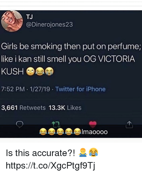 Girls, Iphone, and Smell: TJ  @Dinerojones23  Girls be smoking then put on perfume;  like i kan still smell you OG VICTORIA  KUSH  7:52 PM 1/27/19 Twitter for iPhone  3,661 Retweets 13.3K Likes  Imaoooo Is this accurate?! 🤷‍♂️😂 https://t.co/XgcPtgf9Tj