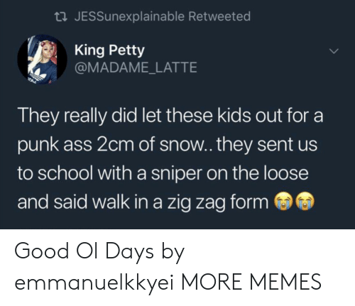 good ol days: tl JESSunexplainable Retweeted  King Petty  @MADAME_LATTE  They really did let these kids out for a  punk ass 2cm of snow.. they sent us  to school with a sniper on the loose  and said walk in a zig zag form Good Ol Days by emmanuelkkyei MORE MEMES