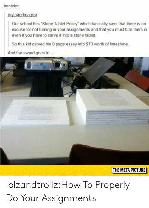 """School, Tablet, and Tumblr: tmntyler  Our school this Stone Tablet Policy"""" which basically says that there is no  excuse for not turning in your assignments and that you must turn them in  even if you have to carve it into a stone tablet  So this kid carved his 8 page essay into $70 worth of limestone.  And the award goes to..  THE META PICTURE lolzandtrollz:How To Properly Do Your Assignments"""