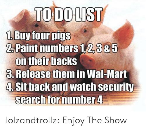 Backs: TO DO LIST  1 Buy four pigs  2Paint numbers 1,2,385  on their backs  3. Release them in Wal-Mart  4. Sit back and watch security  searchfor number 4 lolzandtrollz:  Enjoy The Show